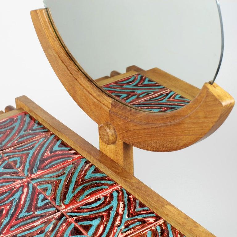 Guillerme et Chambron Oak Vanity, France, 1960s For Sale 6