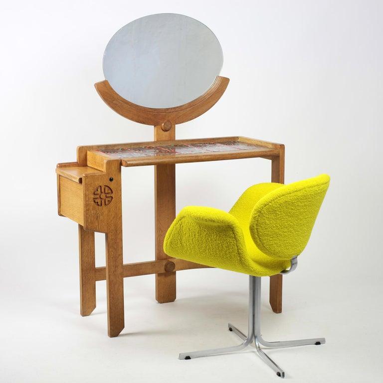 Guillerme et Chambron Oak Vanity, France, 1960s For Sale 7
