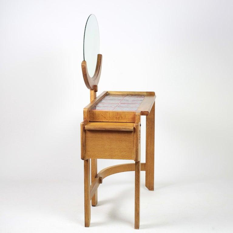 Mid-Century Modern Guillerme et Chambron Oak Vanity, France, 1960s For Sale