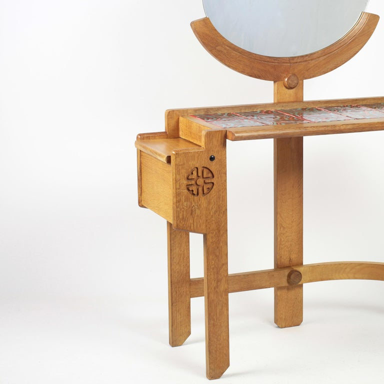 Guillerme et Chambron Oak Vanity, France, 1960s In Good Condition For Sale In Versailles, FR