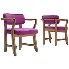Guillerme et Chambron Pair of 'Denis' Armchairs in Oak