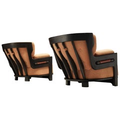 Guillerme et Chambron Pair of 'Denis' Lounge Chairs in Darkened Oak