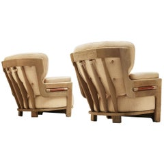 Guillerme et Chambron Pair of 'Denis' Lounge Chairs in Oak