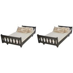 Guillerme et Chambron, Pair of Ebonized Oak Twin Beds, France, Mid-20th Century
