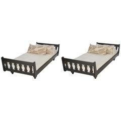 Guillerme et Chambron, Pair of Ebonized Oak Twin Beds, France, Mid-20th Century