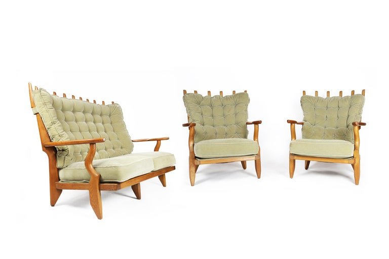 Guillerme et Chambron, Pair of Grand Repos Oak Armchairs Edition Votre Maison 10