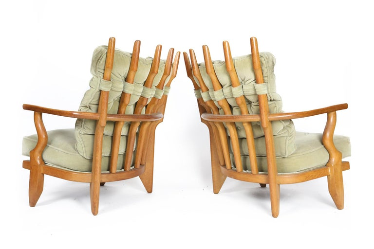 Guillerme et Chambron, Pair of Grand Repos Oak Armchairs Edition Votre Maison 2