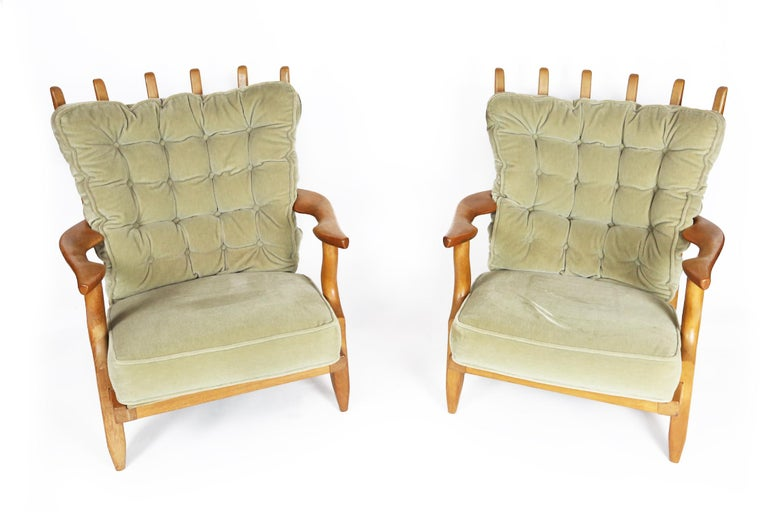 Guillerme et Chambron, Pair of Grand Repos Oak Armchairs Edition Votre Maison 3