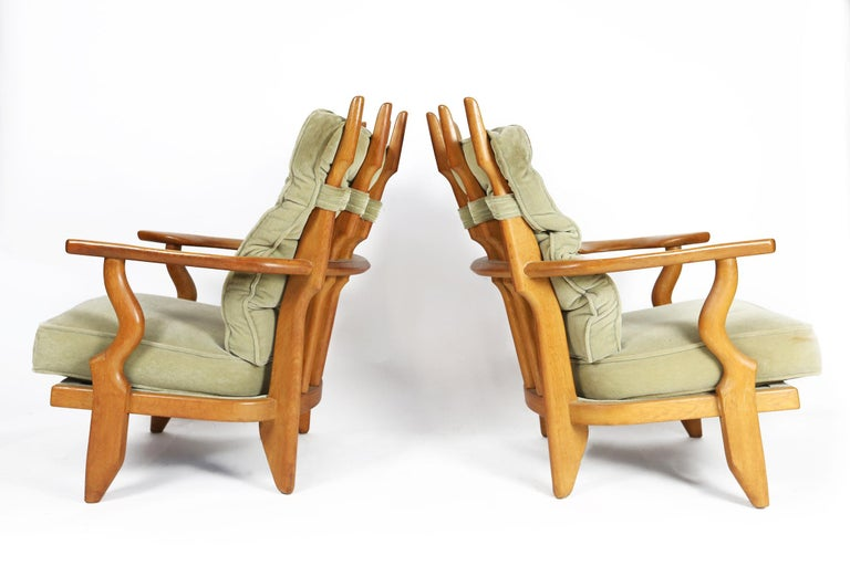 Guillerme et Chambron, Pair of Grand Repos Oak Armchairs Edition Votre Maison 4