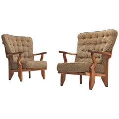 Guillerme et Chambron Pair of Lounge Chairs 'Caqueteuse' in Oak