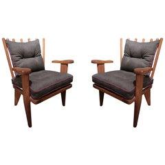Guillerme et Chambron Pair of Lounge Chairs, Edition Votre Maison, France, 1960