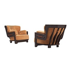 Guillerme et Chambron Pair of Lounge Chairs in Darkened Oak