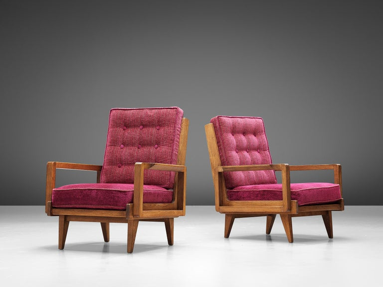Mid-Century Modern Guillerme et Chambron Pair of Lounge Chairs in Oak and Pink Upholstery For Sale