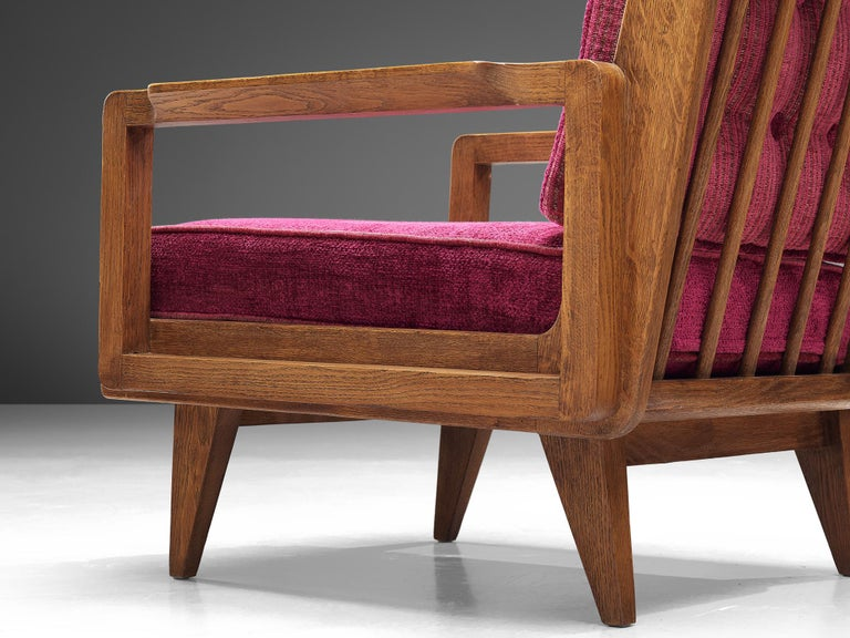 Fabric Guillerme et Chambron Pair of Lounge Chairs in Oak and Pink Upholstery For Sale