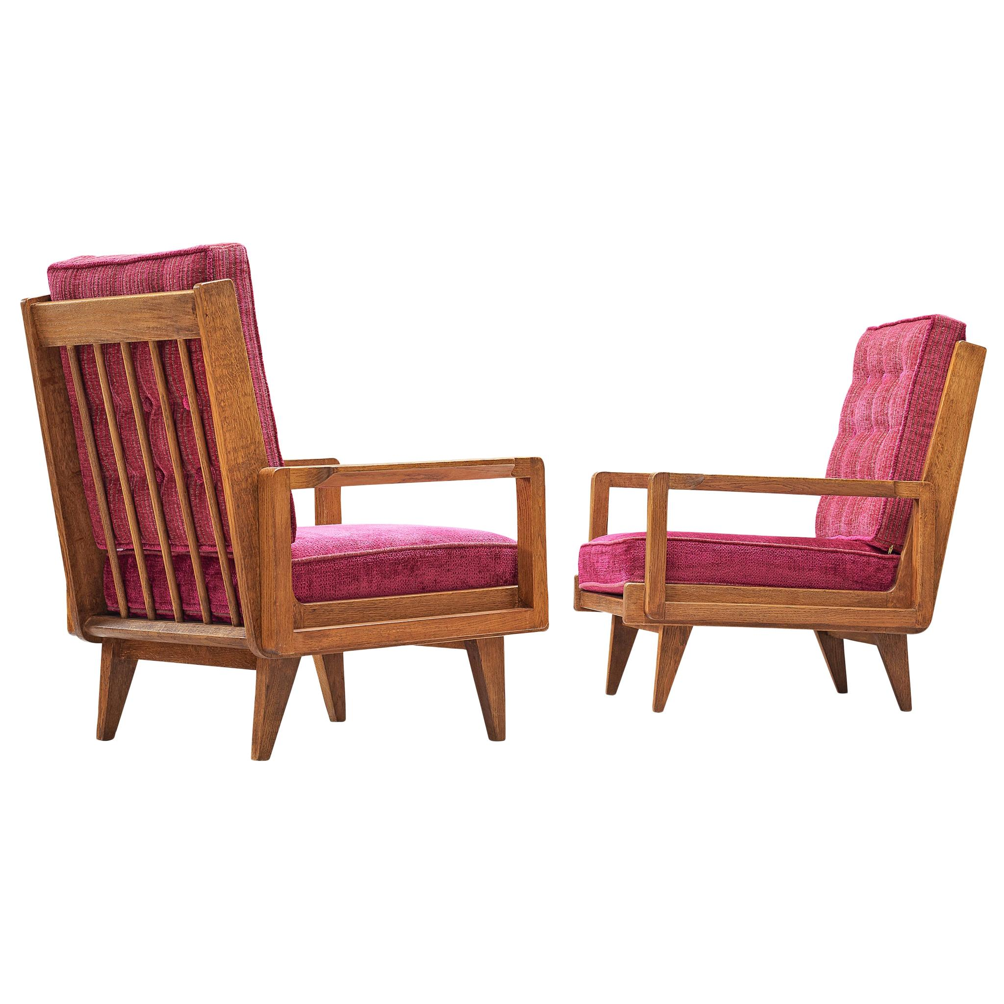 Guillerme et Chambron Pair of Lounge Chairs in Oak and Pink Upholstery