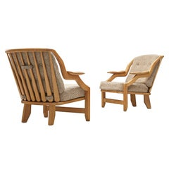 Guillerme et Chambron Pair of Lounge Chairs in Oak