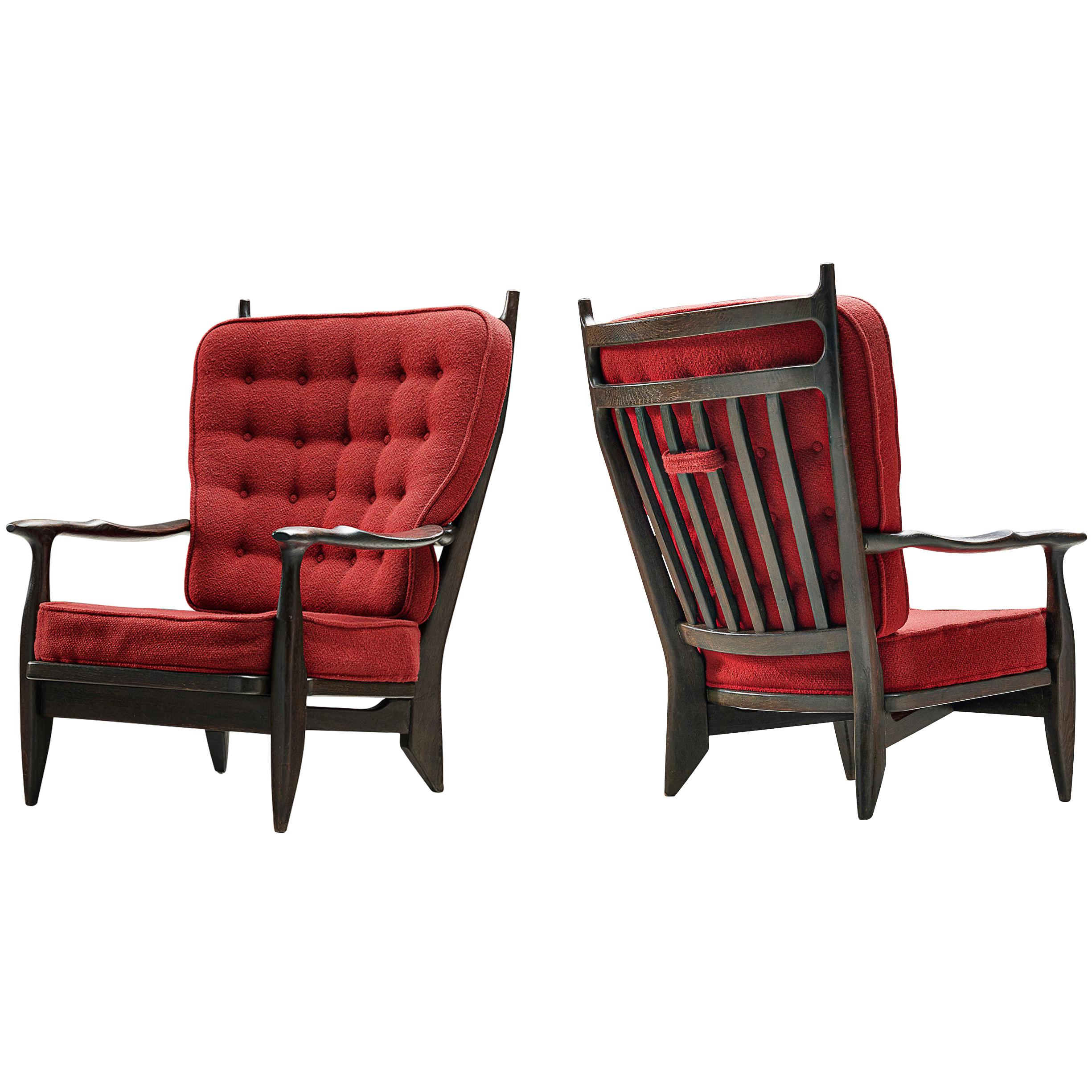 Guillerme et Chambron Pair of Lounge Chairs in Oak with Red Upholstery