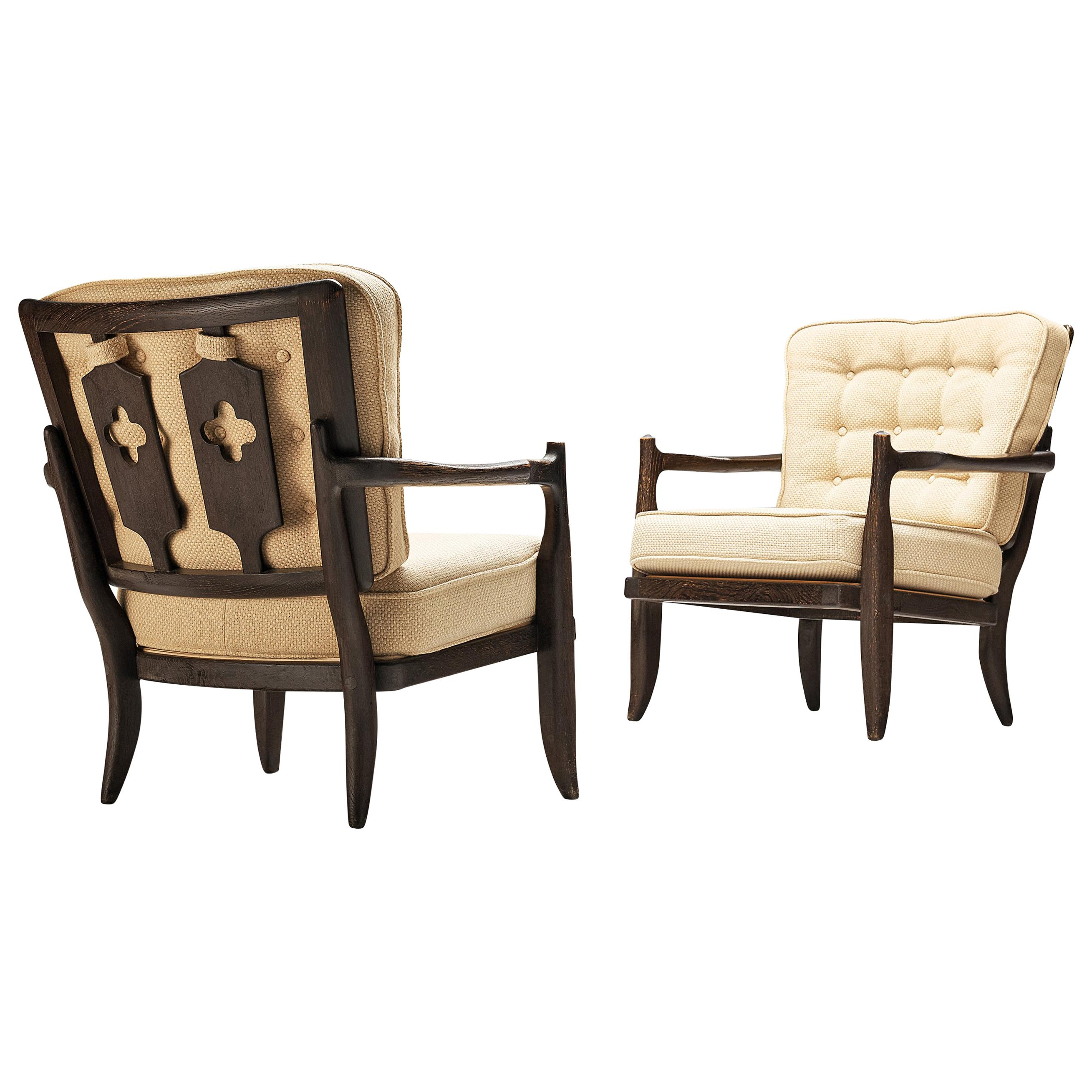 Guillerme et Chambron Pair of Lounge Chairs Model 'Jose' in Oak