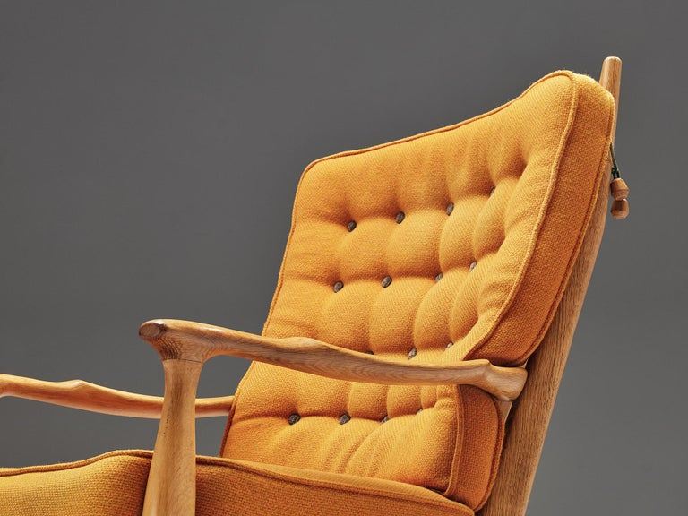 Guillerme et Chambron Pair of Lounge Chairs with Yellow Upholstery 4