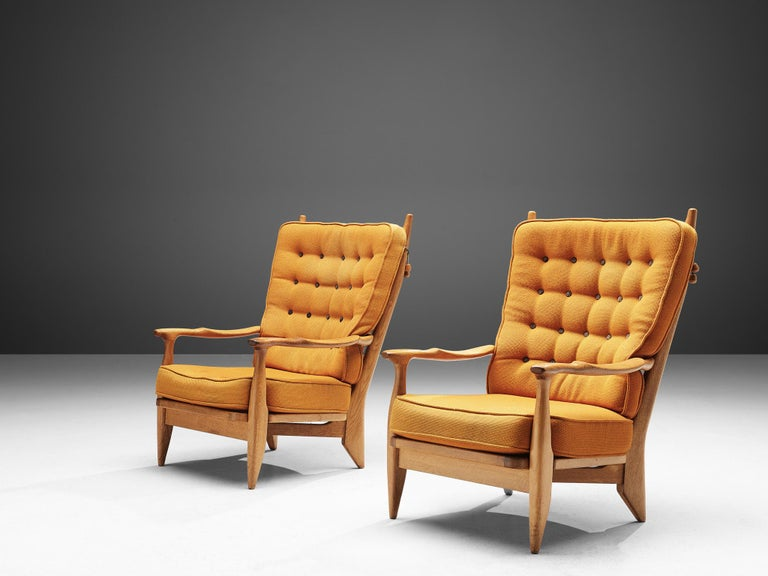 Mid-Century Modern Guillerme et Chambron Pair of Lounge Chairs with Yellow Upholstery