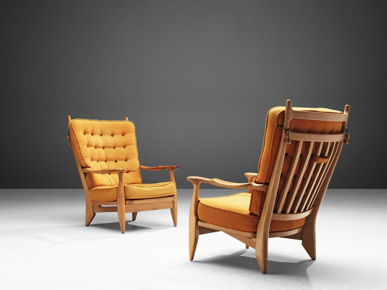 French Guillerme et Chambron Pair of Lounge Chairs with Yellow Upholstery
