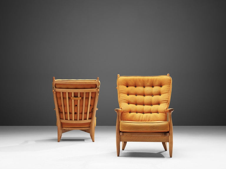 Guillerme et Chambron Pair of Lounge Chairs with Yellow Upholstery In Good Condition In Waalwijk, NL