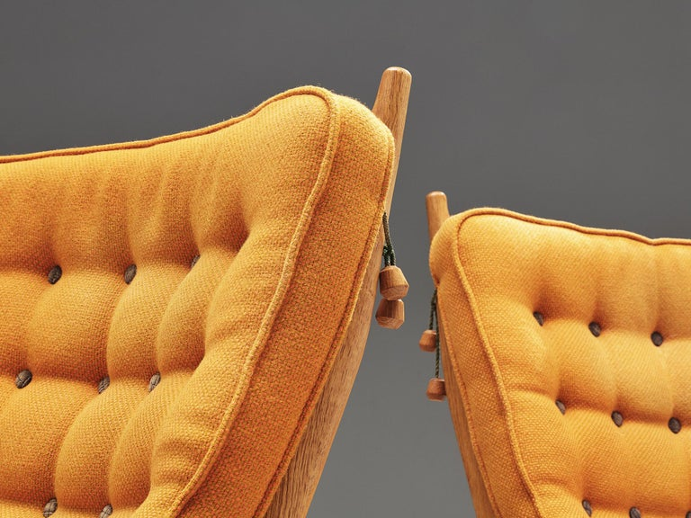 Guillerme et Chambron Pair of Lounge Chairs with Yellow Upholstery 1
