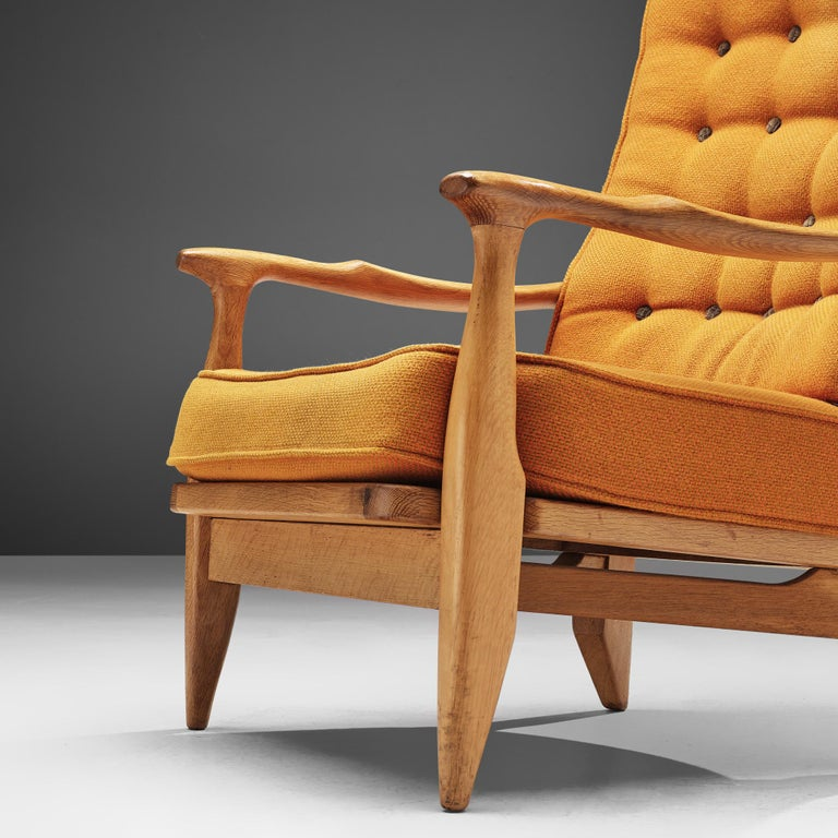 Guillerme et Chambron Pair of Lounge Chairs with Yellow Upholstery 2