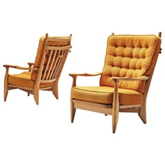 Guillerme et Chambron Pair of Lounge Chairs with Yellow Upholstery