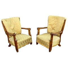 Guillerme et Chambron, Pair of Oak Armchairs, Edition Votre Maison, circa 1950