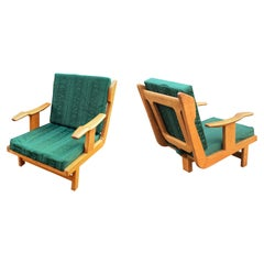 Guillerme et Chambron, Pair of Oak Armchairs, Edition Votre Maison, circa 1970
