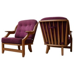 Guillerme et Chambron Pair of Oak Midcentury Armchairs
