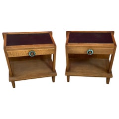 Guillerme et Chambron, Pair of Oak Nightstand Edition Votre Maison, circa 1960