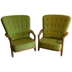 Guillerme et Chambron, Pair of Oak Romeo Armchairs Edition Votre Maison