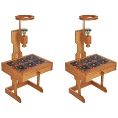 Guillerme et Chambron, Pair of Side Tables with Lamps, France, Midcentury