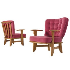 Guillerme et Chambron Pair of Solid Oak Armchairs in Pink Upholstery