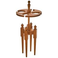 Guillerme et Chambron, Polished Oak Table Lamp, France, Midcentury
