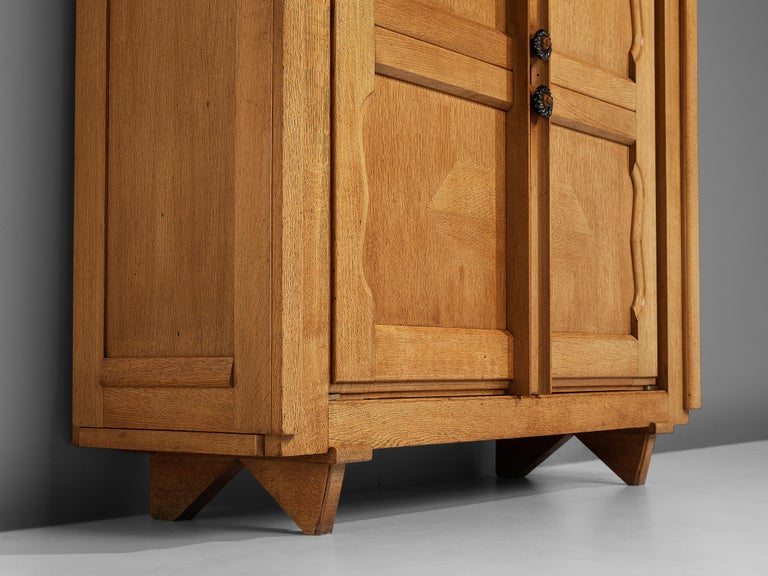 Mid-Century Modern Guillerme et Chambron 'Raphael' Cabinet in Oak For Sale