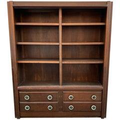 Guillerme et Chambron, Rare 1960 Oak Bookcase, Votre Maison Edition