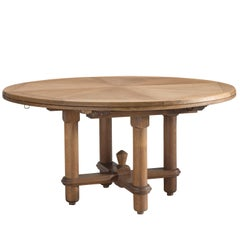 Guillerme et Chambron Round Dining Table in Oak