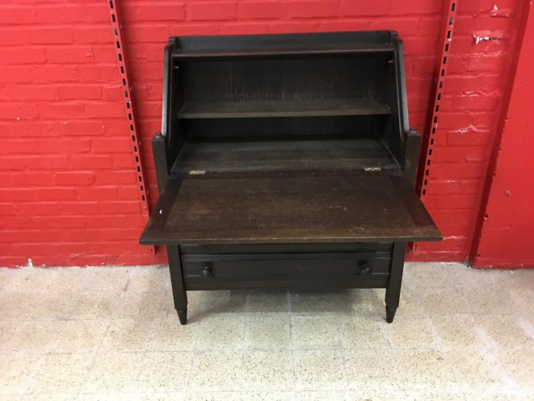French Guillerme et Chambron, Secretaire in Blackened Oak, circa 1970 For Sale