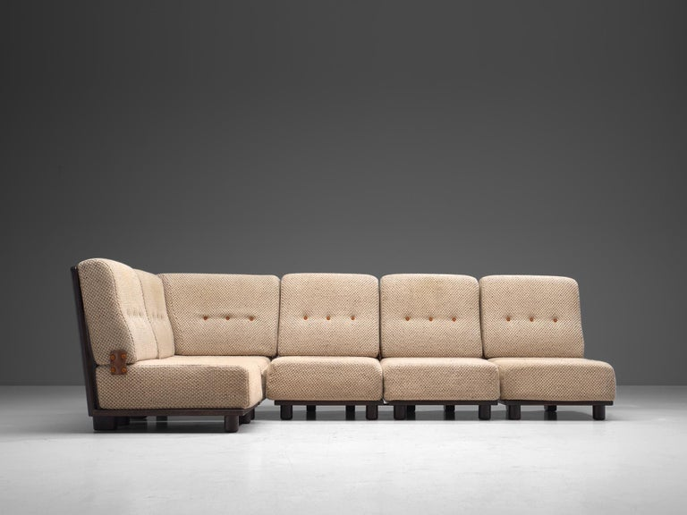 Guillerme et Chambron for Votre Maison, sectional sofa, fabric and oak, France, circa 1950  Beautiful sectional sofa consisting of five elements that can be positioned in any preferred way, designed by the French duo Guillerme et Chambron. The