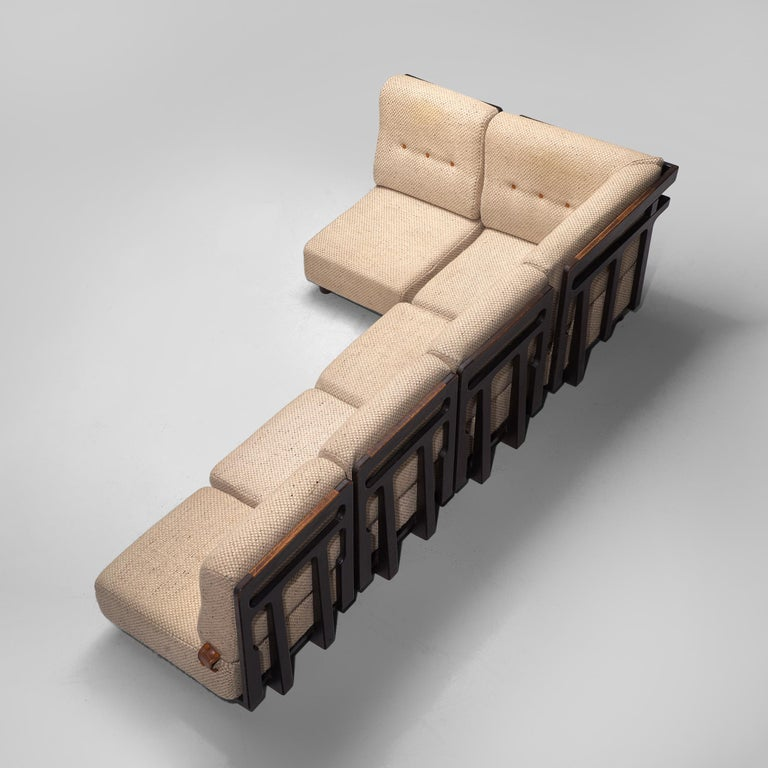 Mid-Century Modern Guillerme et Chambron Sectional Sofa 'Elmyre' in Beige Fabric For Sale