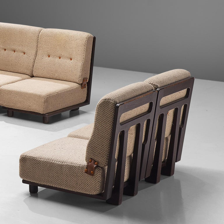 Mid-20th Century Guillerme et Chambron Sectional Sofa 'Elmyre' in Beige Fabric For Sale
