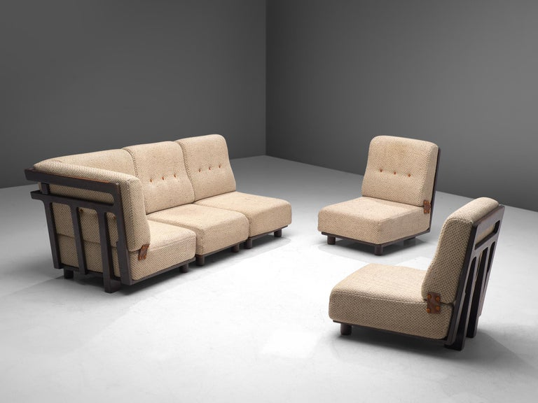 Leather Guillerme et Chambron Sectional Sofa 'Elmyre' in Beige Fabric For Sale