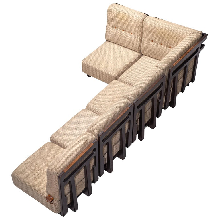 Guillerme et Chambron Sectional Sofa 'Elmyre' in Beige Fabric For Sale
