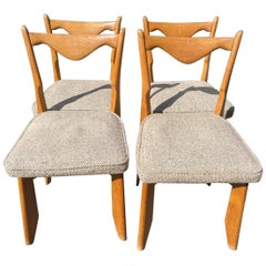 Guillerme et Chambron Set of 4 Dining Chairs in Solid Oak