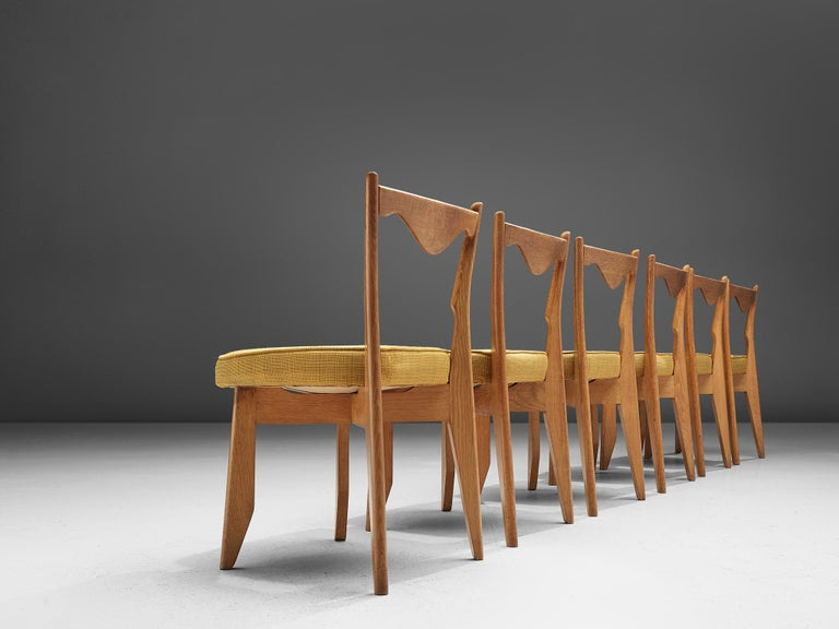 Mid-Century Modern Guillerme et Chambron Set of Dining Chairs in Solid Oak For Sale