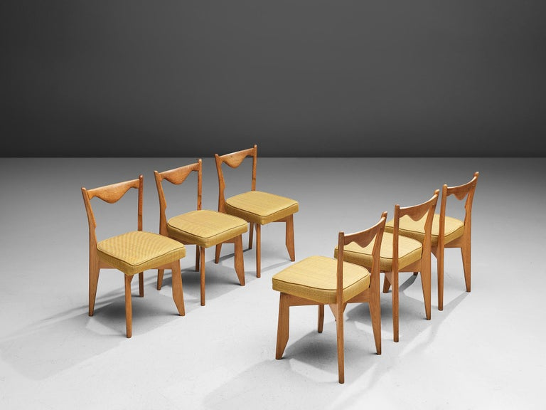 French Guillerme et Chambron Set of Dining Chairs in Solid Oak For Sale