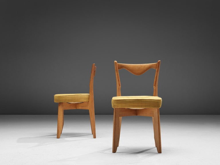 Mid-20th Century Guillerme et Chambron Set of Dining Chairs in Solid Oak For Sale